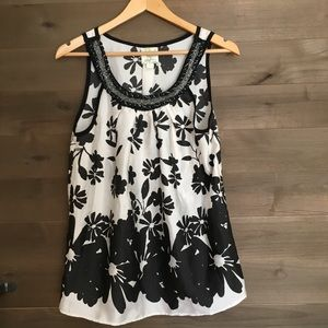 WESTON WEAR Anthropologie Shadow Flower Beaded Top